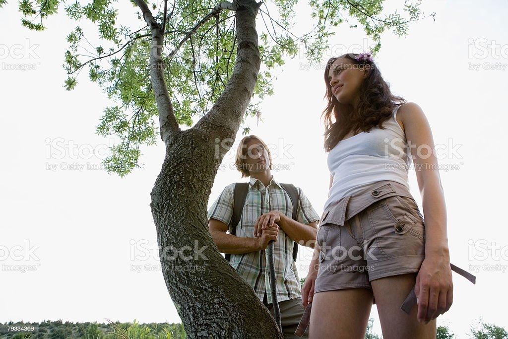 若いカップルの近くに立ち、ツリー ロイヤリティフリーストックフォト