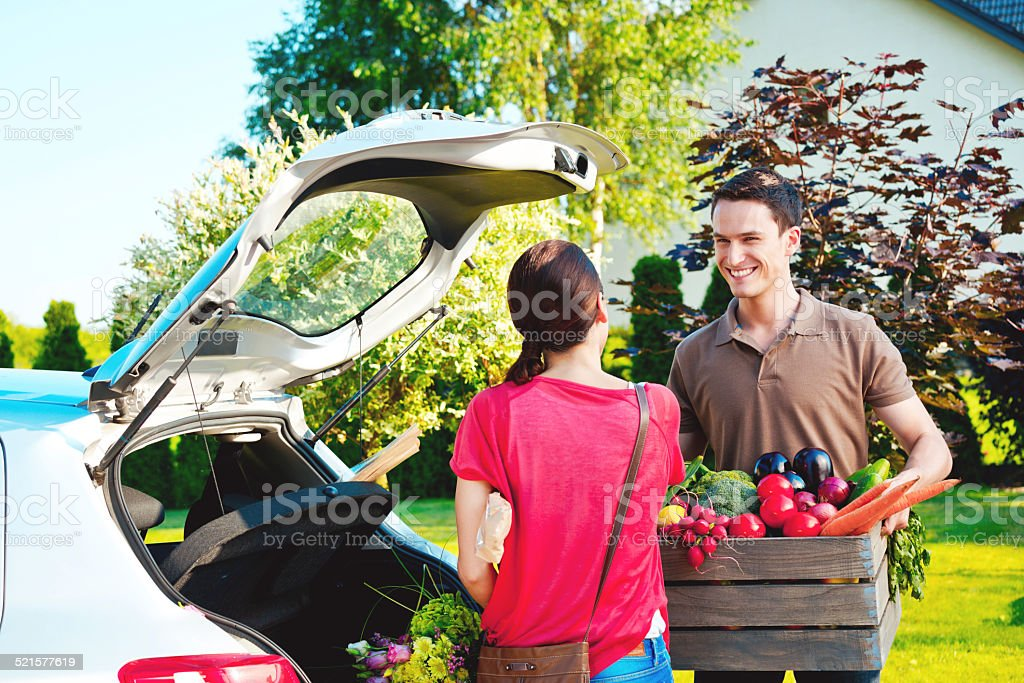 Young couple standing outdoor by car, came back from shopping Cheerful young couple came back home from shopping, talking outdoor by the car trunk, the man holding a box of vegetables.  Adult Stock Photo
