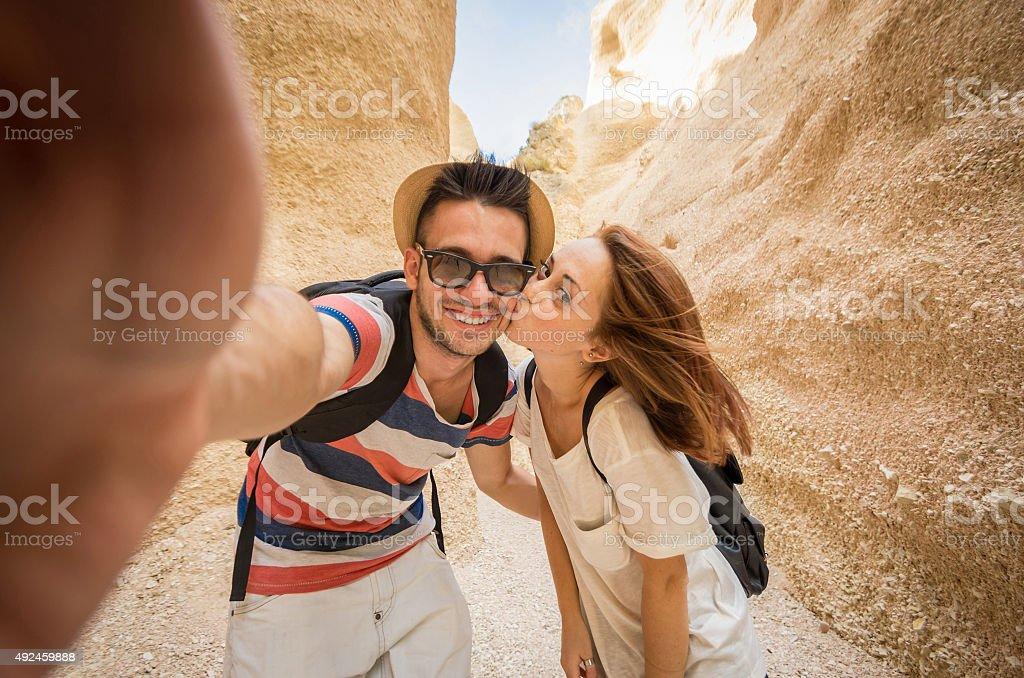 Young couple take a selfie stock photo
