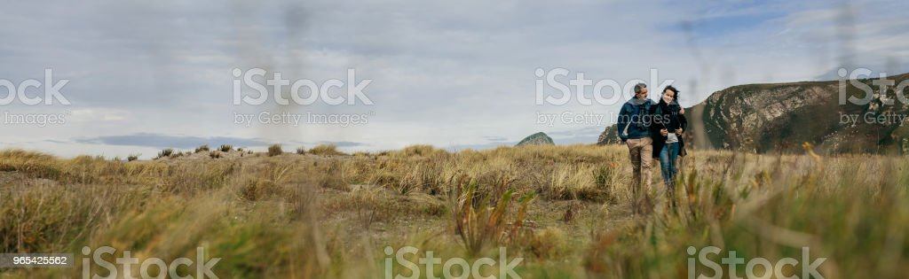 Young couple taking a walk near the coast royalty-free stock photo
