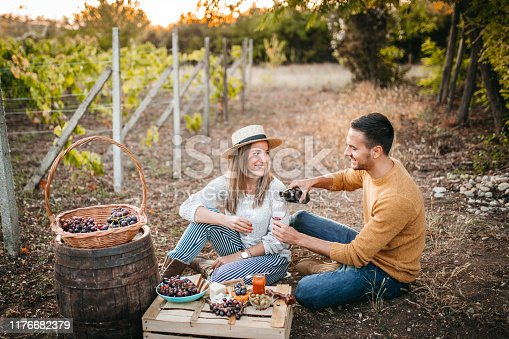 Young happy couple at picnic after grapes harvest, eating and tasting wine