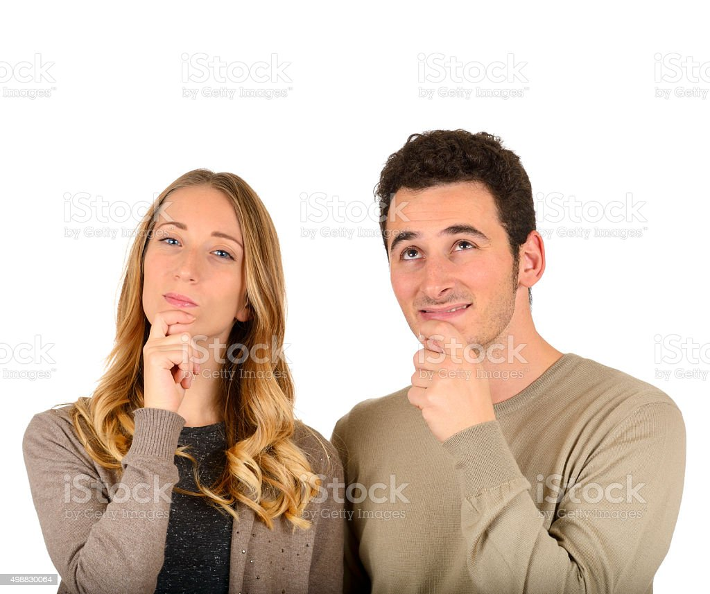 Young Couple thinking stock photo