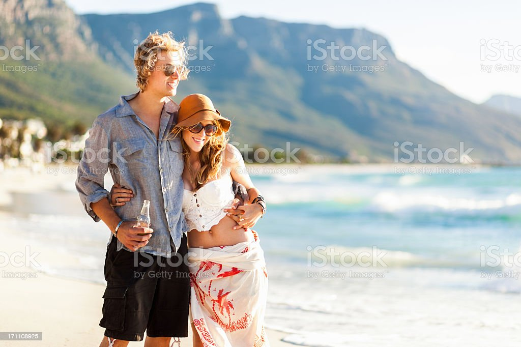 Young Couple Together At The Beach royalty-free stock photo
