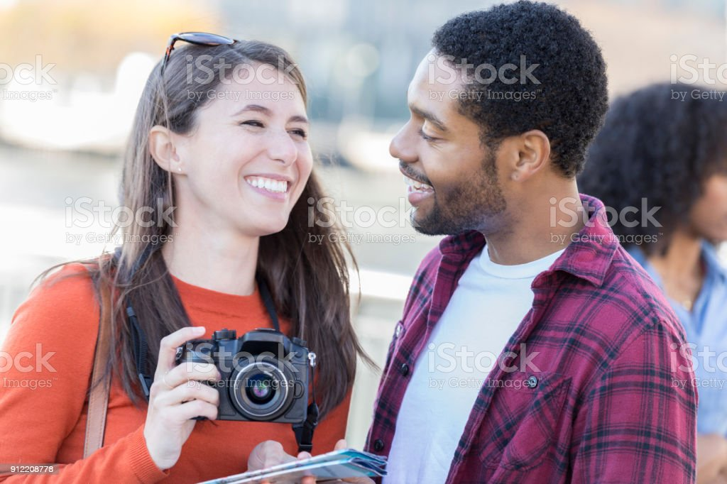 Young Couple Tour New York City On Their Honeymoon Stock