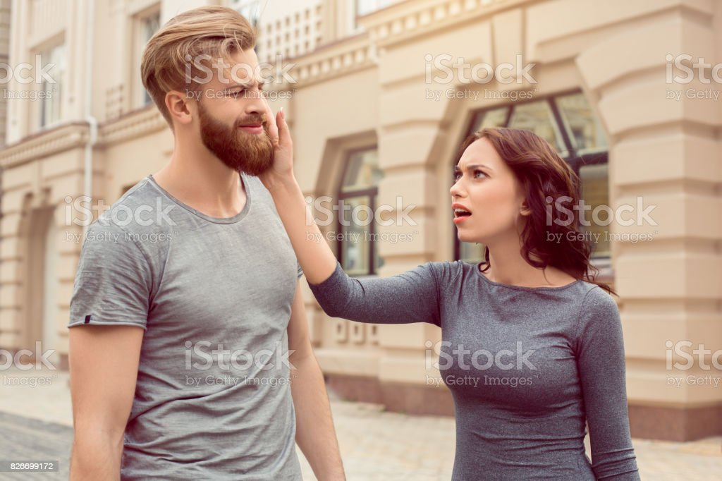 Young couple tourists city walk together vacation stock photo