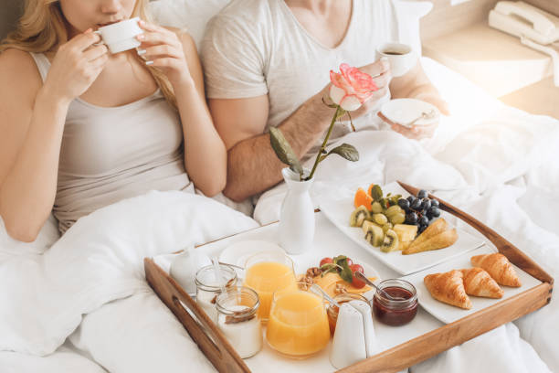 Young couple travel together hotel room leisure stock photo