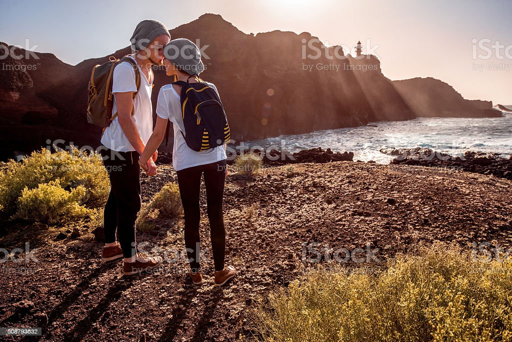 Young couple traveling nature stock photo