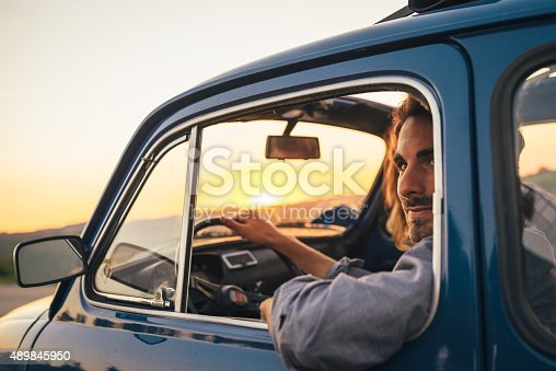 istock Young Couple Trip With Vintage Car 489845950
