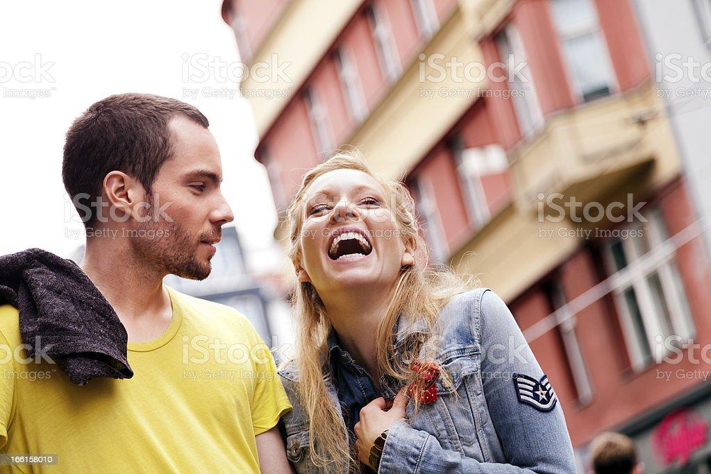 Young Couple Urban Walk royalty-free stock photo