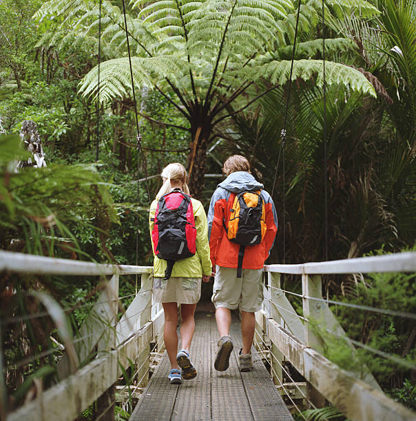 Young couple walking on bridge, rear view stock photo