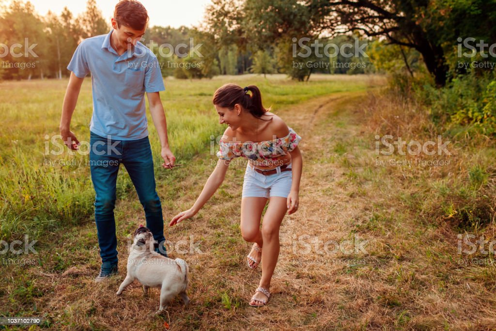 Young couple walking pug dog in autumn forest. Happy puppy running along and having fun playing with masters. stock photo