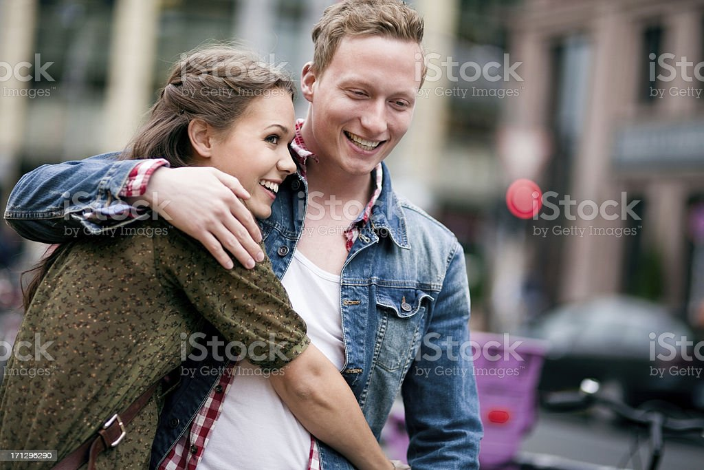 Young couple walking the streets of Berlin. royalty-free stock photo