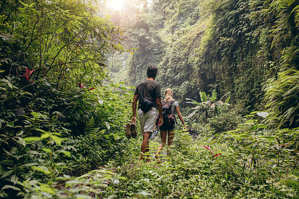 Young couple walking through woods - foto de acervo