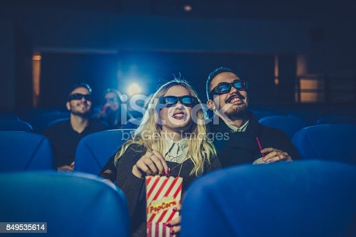 187095683 istock photo Young couple watching movie 849535614