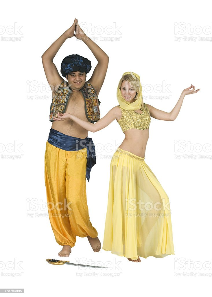 Young Couple Wearing Arabian Sultan and Belly Dancer Halloween Costumes royalty-free stock photo  sc 1 st  iStock & Young Couple Wearing Arabian Sultan And Belly Dancer Halloween ...
