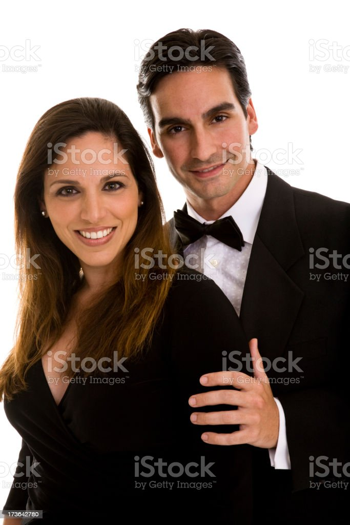 Young couple wearing black tie formal wear royalty-free stock photo