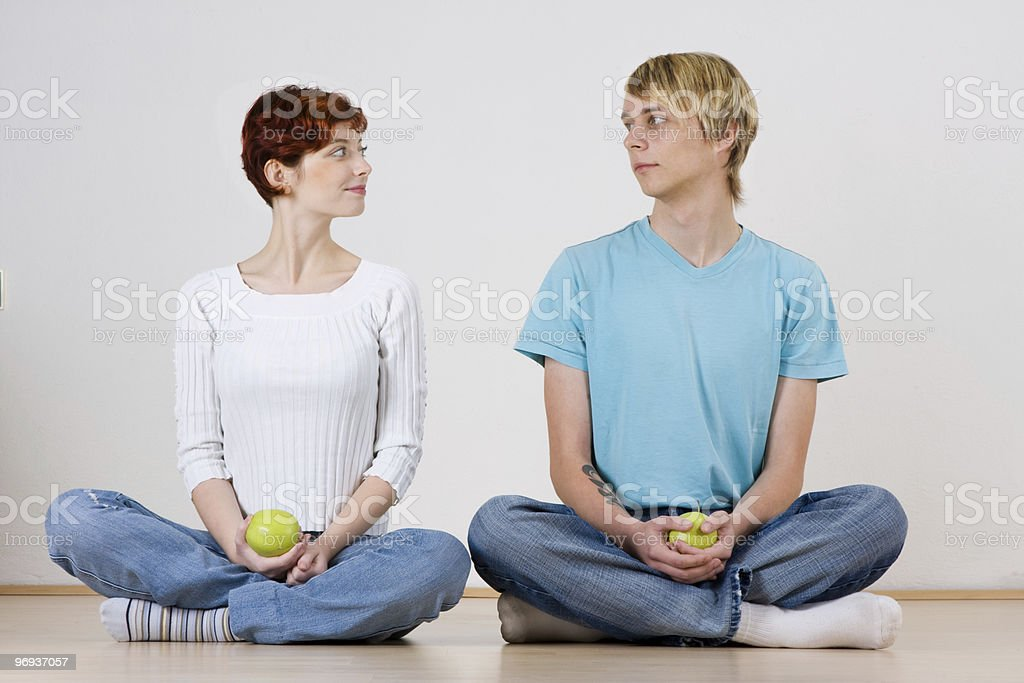 Young couple with apples royalty-free stock photo