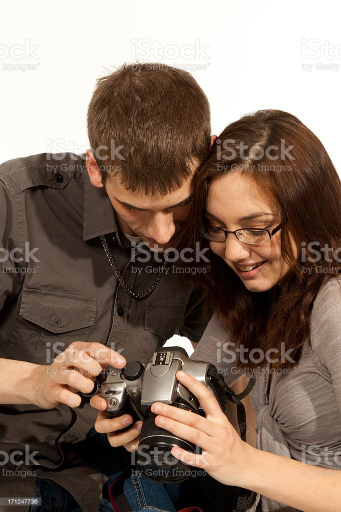 Young couple with camera royalty-free stock photo