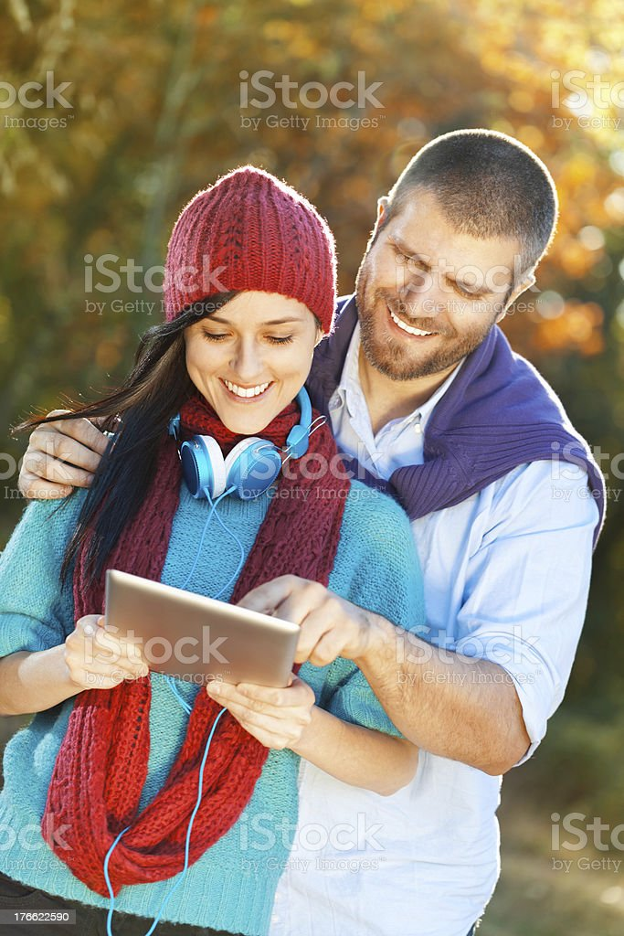 Young couple with digital tablet royalty-free stock photo