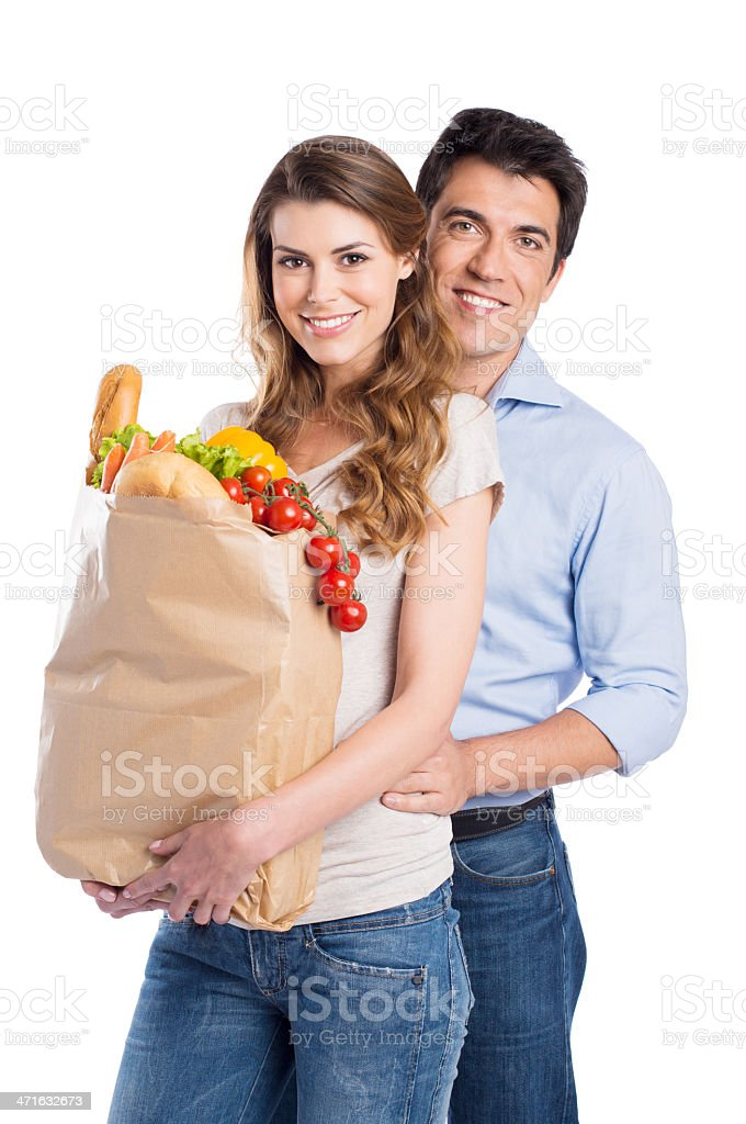 Young Couple With Grocery Bag royalty-free stock photo