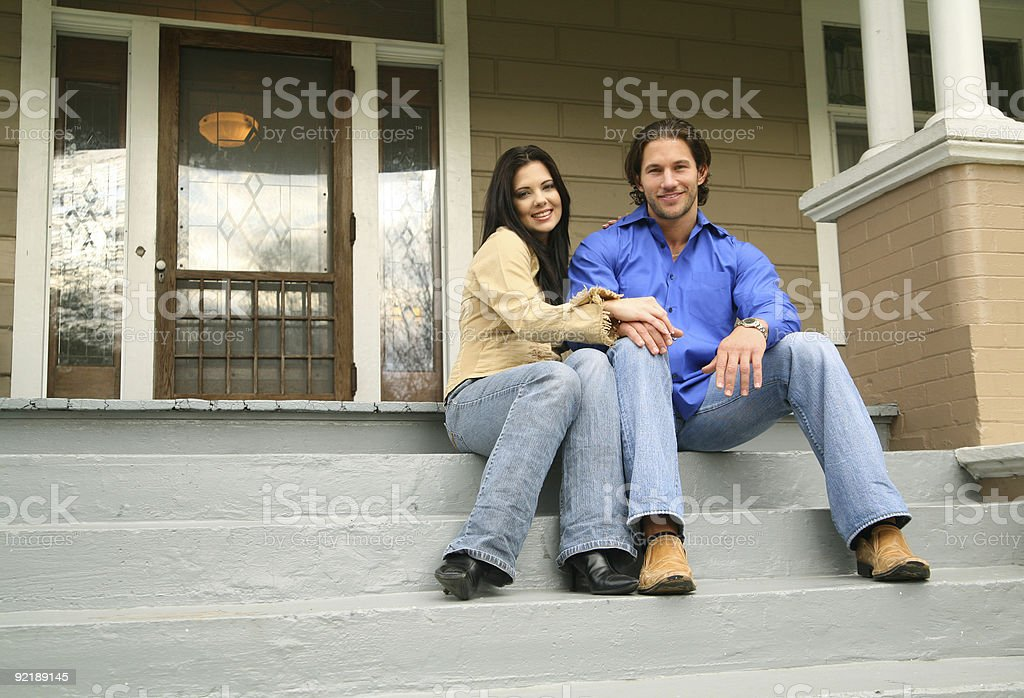 Young Couple With New House stock photo