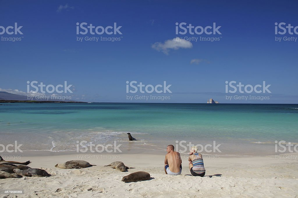 Young Couple with Sea Lions stock photo
