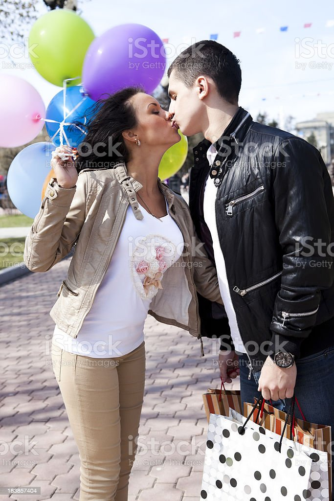 Young couple with shopping royalty-free stock photo