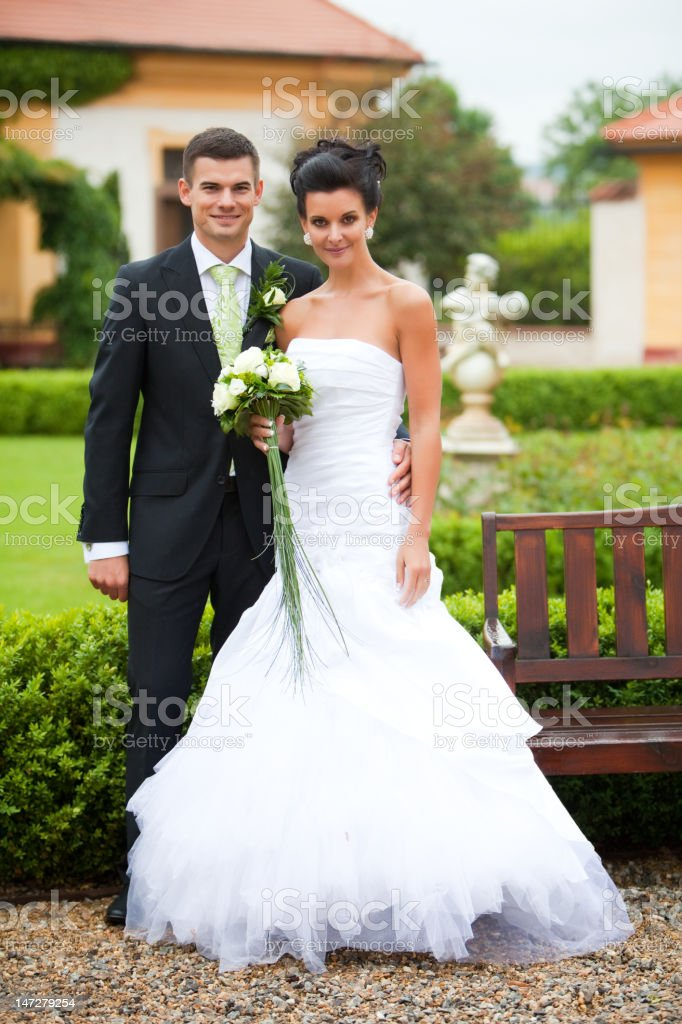Young coupple just married royalty-free stock photo