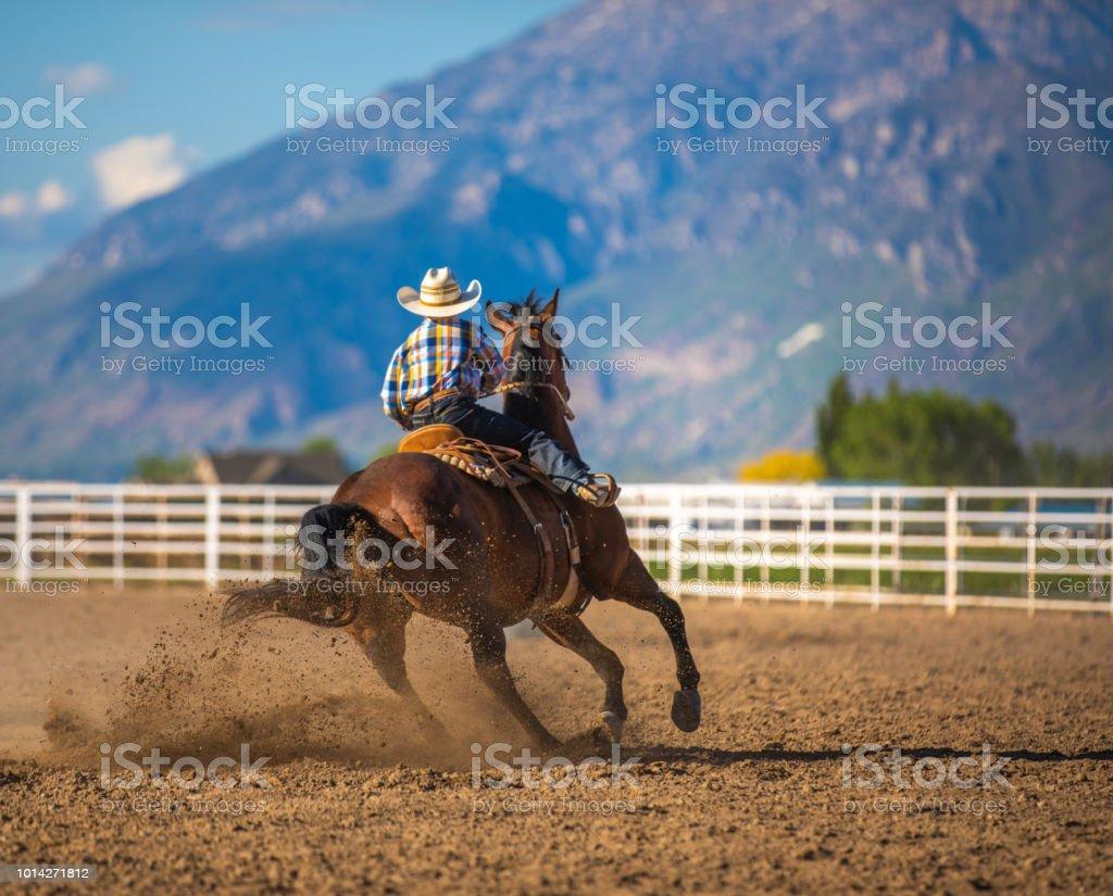 Young cowboy barrel racing rodeo stock photo