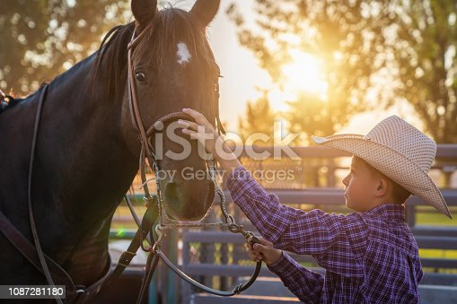 Young little cowboy taking care of his horse in the early morning sun. Real People Farmer People Portrait. Spanish Fork, Utah, USA