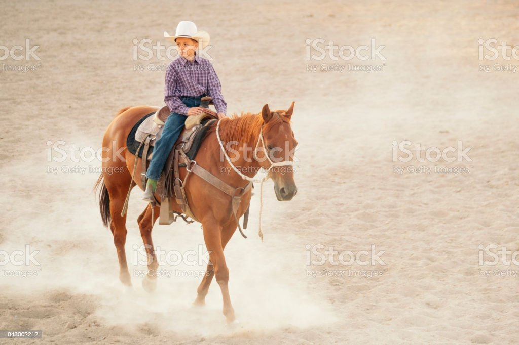 Young Cowboy With His Horse royalty-free stock photo