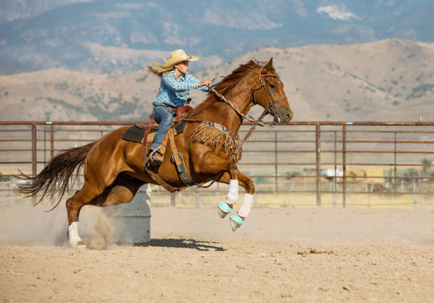 Young Cowgirl Barrel Racing stock photo