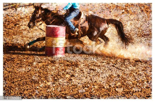 Young cowgirl barrel racing rodeo - digital photo manipulation