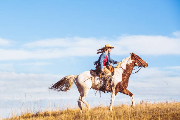 Young Cowgirl On Horseback A young woman riding horseback on a beautiful paint horse. They are riding on a grassy plain with a blue and white sky in background. paint horse stock pictures, royalty-free photos & images