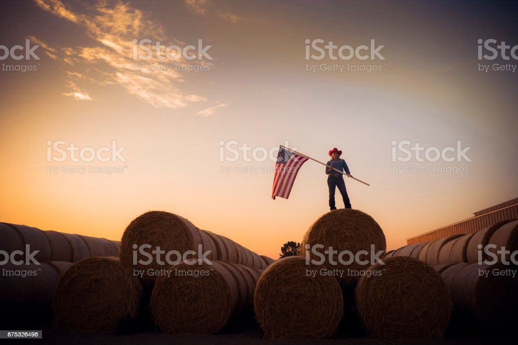 Young Cowgirl Stands On Top Of A Huge Pile Of Hay Bales At Sunset Holding The American Flag Young Cowgirl Stands On Top Of A Huge Pile Of Hay Bales At Sunset Holding The American Flag Agriculture Stock Photo