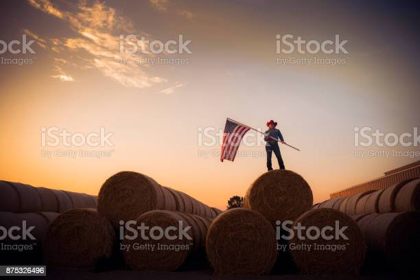 Young Cowgirl Stands On Top Of A Huge Pile Of Hay Bales At Sunset Holding The American Flag Stock Photo - Download Image Now