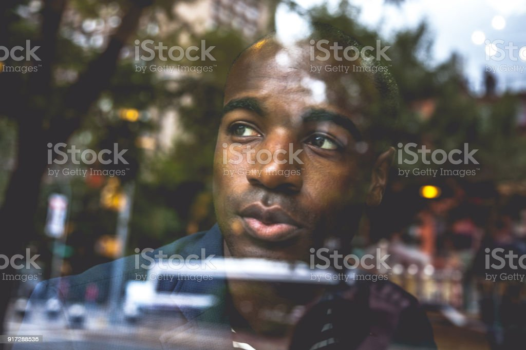 Young creative business man in New York stock photo