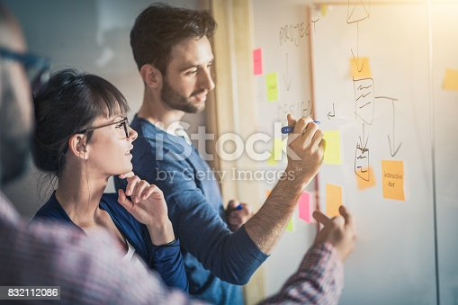 istock Young creative business people meeting at office. 832112086