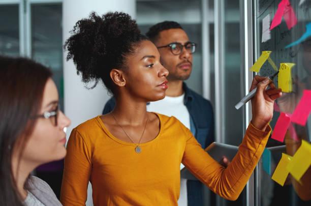 mulher de negócios criativa nova que está com seus colegas que escrevem idéias novas em notas pegajosas sobre a parede de vidro - post it - fotografias e filmes do acervo