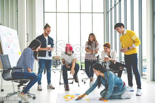 1031237974 istock photo Young creative diverse group meeting and looking at project plan lay out on floor discuss or brainstorm business strategy with post note. Workshop for startup team in modern office. Happy workplace. 1177257269