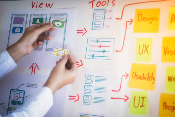 Young creative graphic planning with sketch drawing for application developing in office. User experience Design concept. stock photo