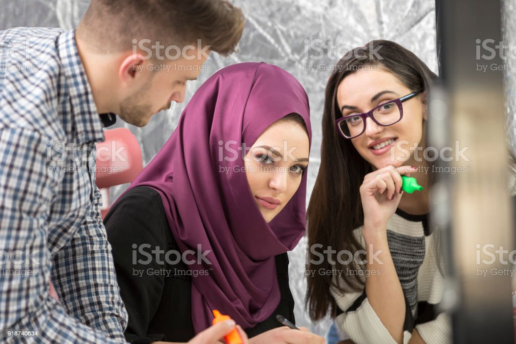 young creative startup business people on meeting at modern office making plans and projects stock photo