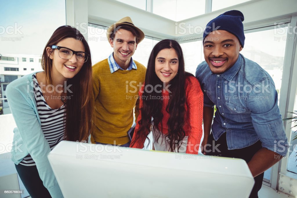 Young creative team having a meeting royalty-free stock photo