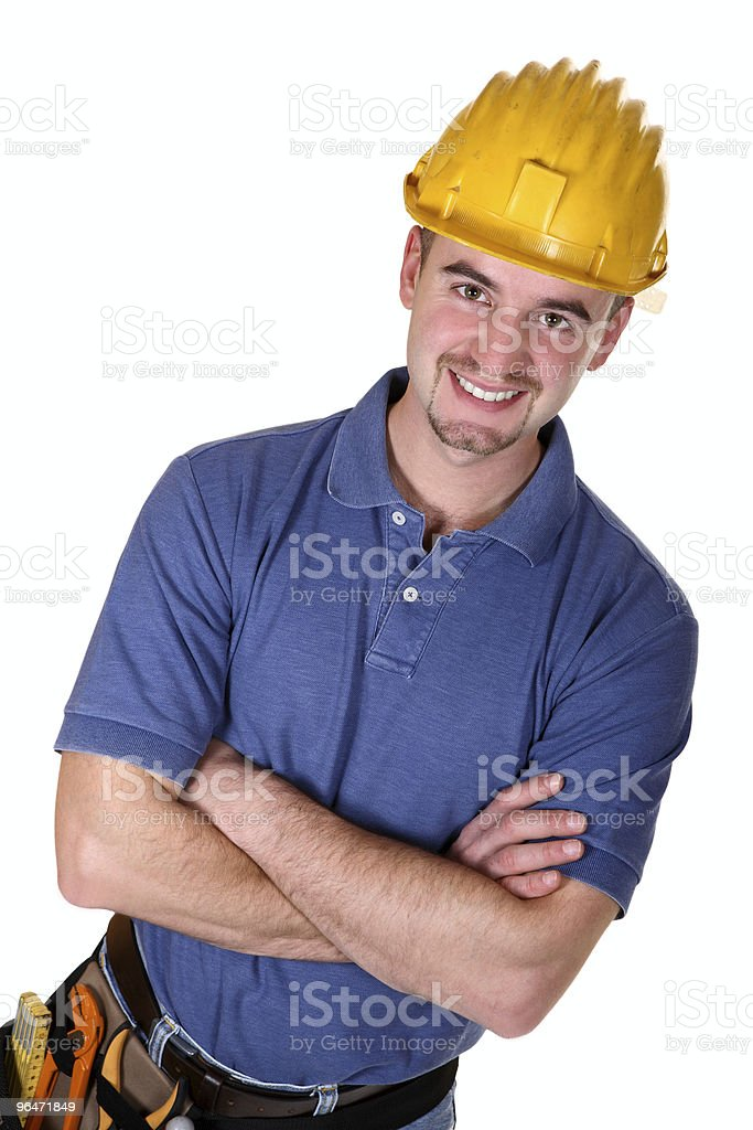 Young cross arms caucasian man tool royalty-free stock photo