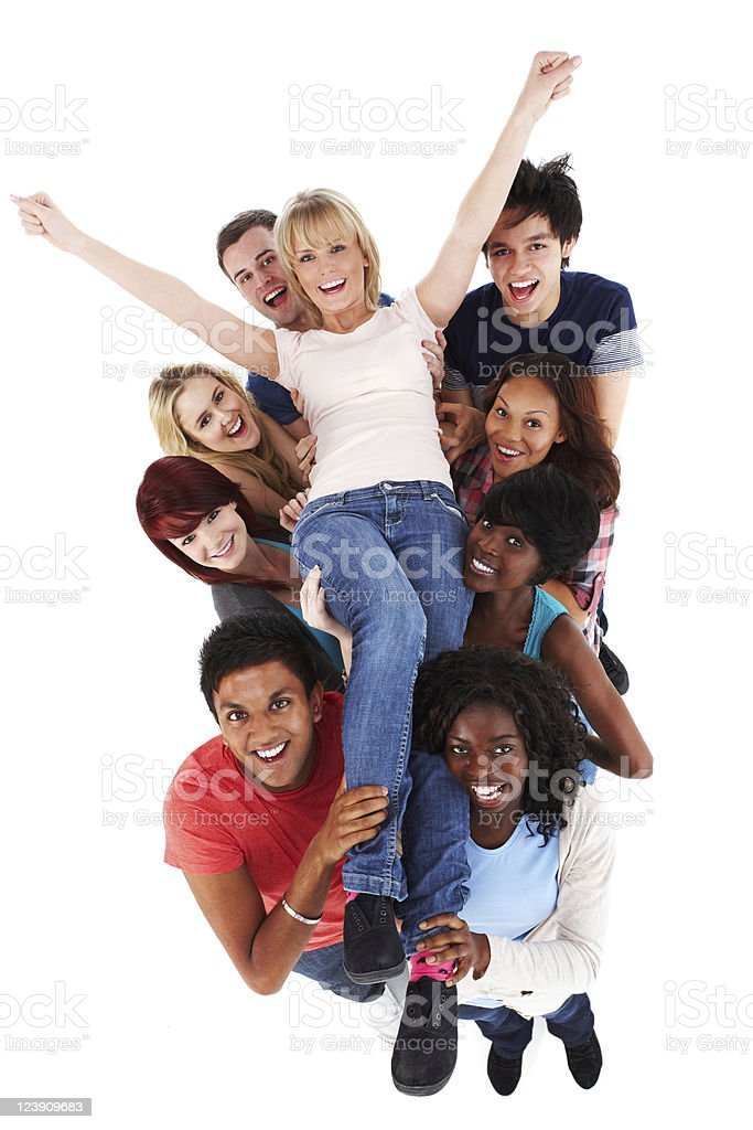 Young Crowd Carrying a Woman - Isolated royalty-free stock photo