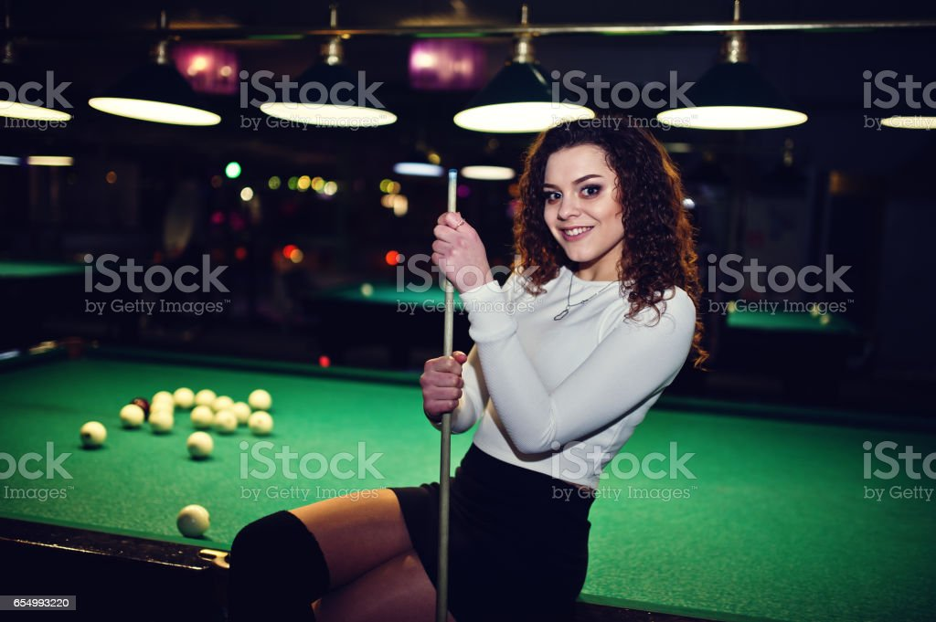 Young Curly Girl Posed Near Billiard Table Sexy Model At Black Mini - Play pool table near me