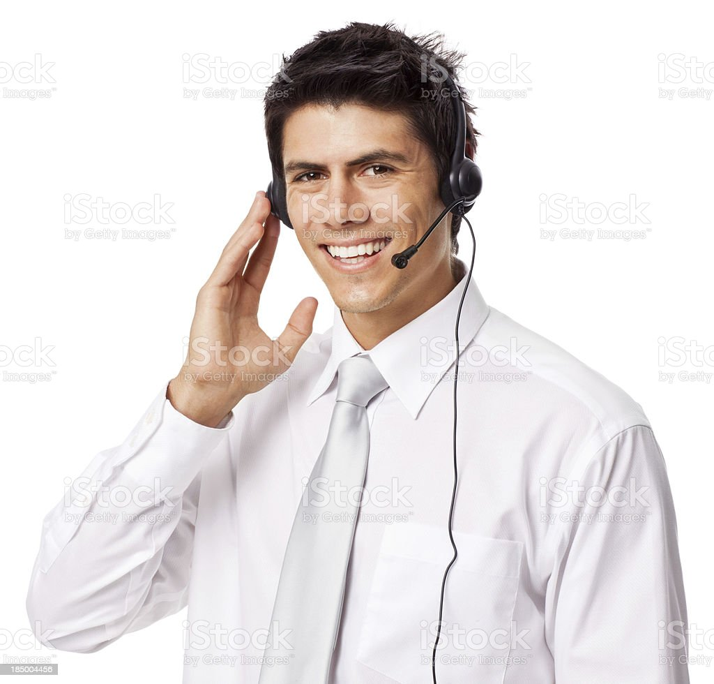Young Customer Service Representative - Isolated royalty-free stock photo