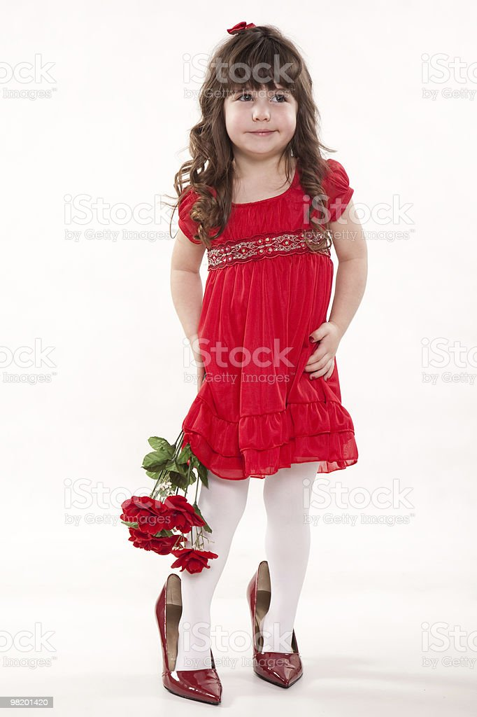 Young cute caucasian toddler girl playing royalty-free stock photo