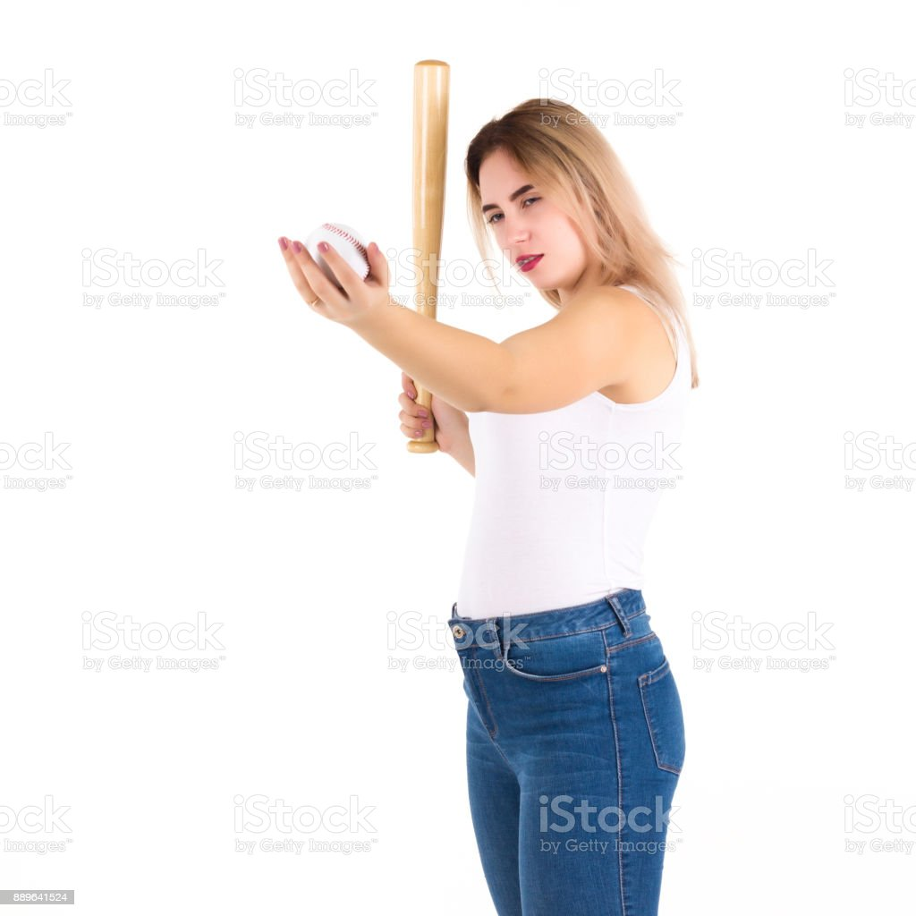 Young cute girl with baseball bat, isolated stock photo