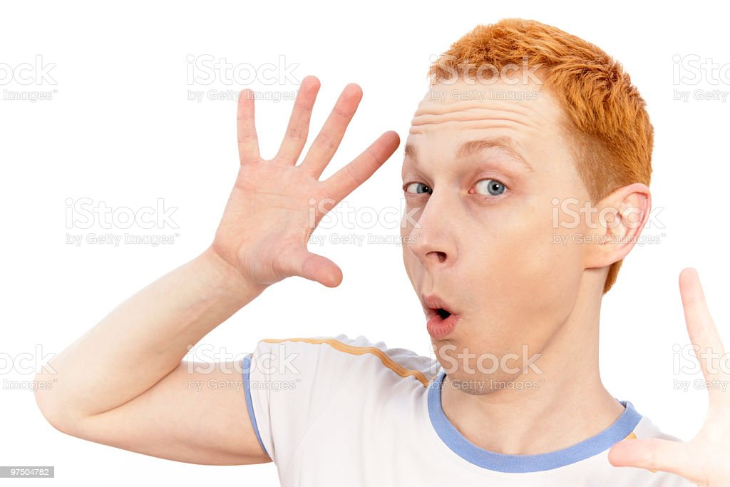 young cute guy with red hair have fun royalty-free stock photo